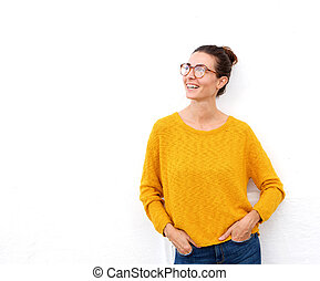 beautiful young woman smiling with glasses on white background