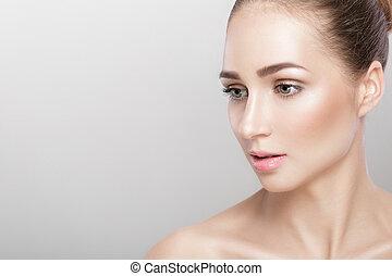 portrait of beautiful young woman - profile portrait of...