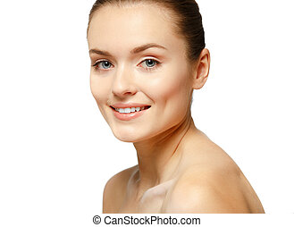Portrait of beautiful young woman with clean face. High key shot.