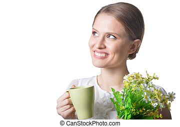 portrait of beautiful young woman with flowers on white background