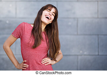 beautiful young woman with long hair winking