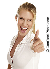 woman with thumbs up - Portrait of beautiful young woman ...