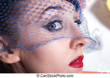 beautiful young women in veils closeup