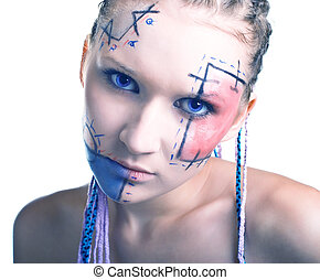 young women with geometrical makeup