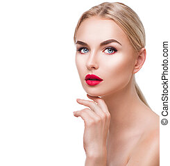 Portrait of beauty blonde girl with bright makeup isolated on white