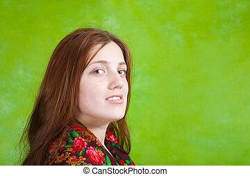 girl over green background