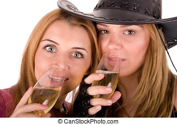 Portrait of beauty friends drinking