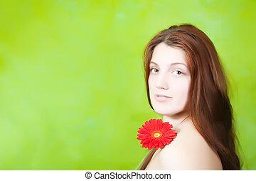 beauty girl over green