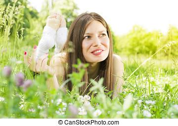 beauty girl relaxing outdoors