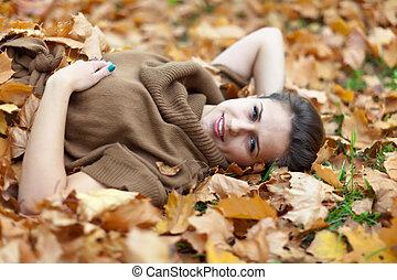 woman in september park