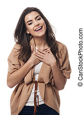 Portrait of beauty young woman laughing