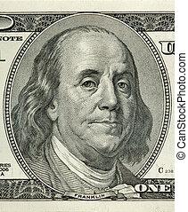Portrait of Benjamin Franklin macro from one hundred dollars bill