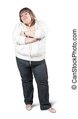 big girl - portrait of big girl. Isolated over white