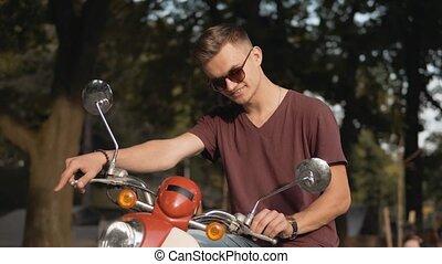 Portrait of Biker in the Park