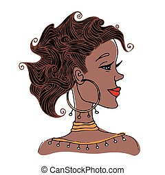 Portrait of black woman with curly hair in profile. Vector...