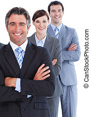 Portrait of blissful business team