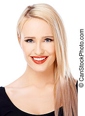 Portrait of blond beautiful woman with red lips