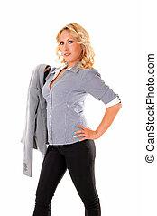 Portrait of blond businesswoman.