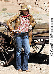 blond cowgirl - Portrait of blond cowgirl. Western movie...