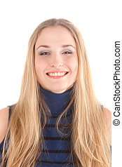 Portrait of blond long hair girl