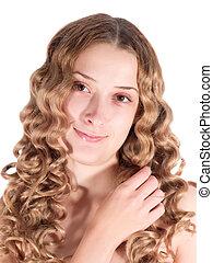 long-haired girl - Portrait of blond long-haired girl. ...