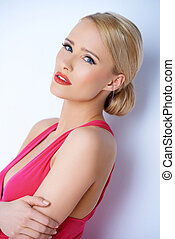 Portrait of blond sexy woman