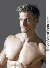 Portrait of blond sport man - Portrait of a muscle sport man...