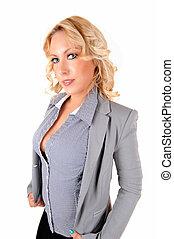 Portrait of blond woman.