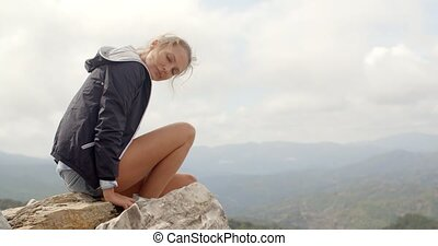 Portrait of Blond Woman, She Enjoys Mountain