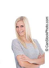 Portrait of Blond Woman with Arms Crossed