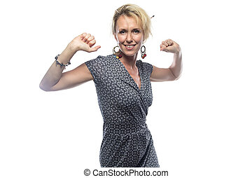 Portrait of blond woman with hands up