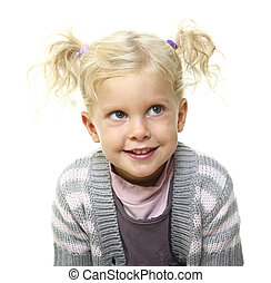 portrait of blonde kid on white background