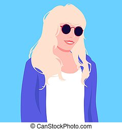 Portrait of blonde woman with long hair in sunglasses