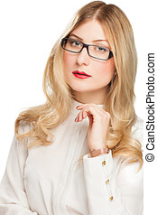 Portrait of blonde young business woman