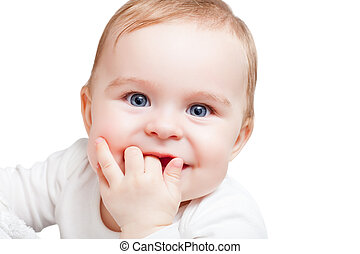 Portrait of blue-eyed baby - Portrait of baby on white...