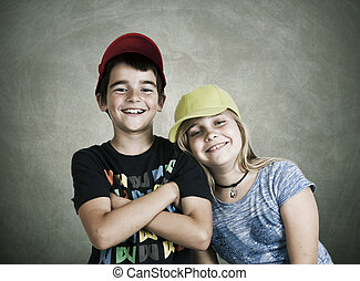 portrait of boy and girl - portrait of couple of children...