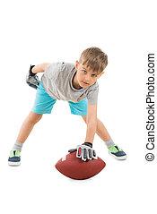 Boy Holding American Football
