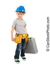 Portrait Of Boy Holding Toolbox