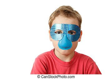 Portrait of boy in blue mask on white background. Isolation.
