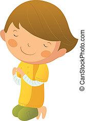 Portrait of boy praying