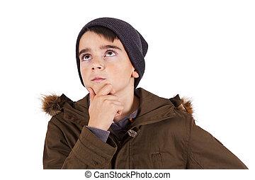 Portrait of boy thinking isolated on white