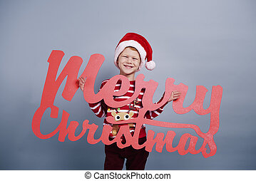 Portrait of boy with christmas decoration