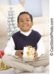 Portrait Of Boy With Christmas Present