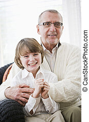 Portrait of boy with grandfather
