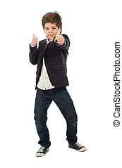 Portrait Of Boy With Thumbs Up