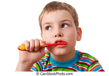 Portrait of boy with toothbrush on  white background. Close-up, isolated.