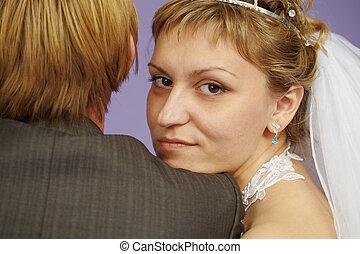 Portrait of bride near to groom - Portrait of the bride near...