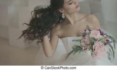 Portrait of bride with bouquet