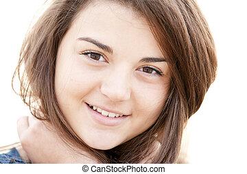 Portrait of brunette girl.