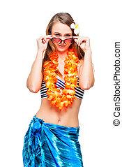 Portrait of brunette in Hawaiian lei and bikini on white background
